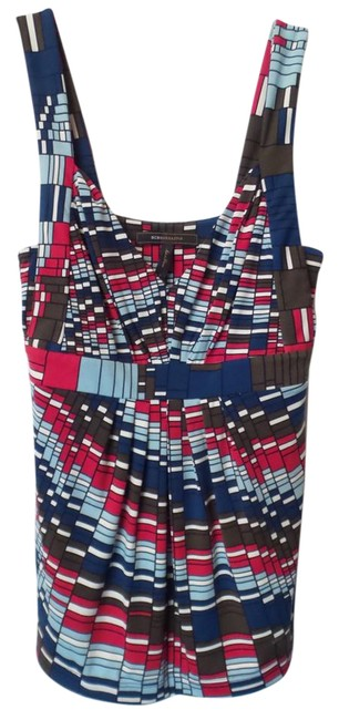 Item - Blue White Red Brown Black Jersey Bcbg Max Azria Mod Geometric Ruched Sleeveless Halter Tunic Size 6 (S)