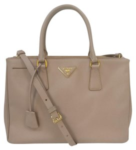 Prada Leather Saffiano Double Zip Executive Bn2274 Tote in Beige
