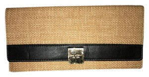 Isaac Mizrahi Resort Night Party Classic Natural and Black Clutch