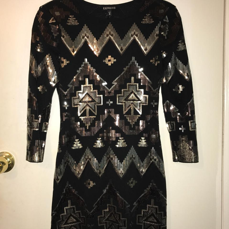 332991d8 Express Black Model Wear Aztec Sequin Embellished Short Night Out Dress  Size 2 (XS) - Tradesy
