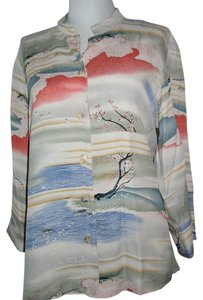 Citron Pure Silk Floral Top Citron Japanese Waves Silk