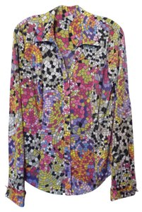 Carmen Marc Valvo Mosiac Long Multi-seam French Cuffs Button Front Top Multi-colored