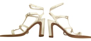 Accessoire France Ankle Strap Buckle Leather Heel White Sandals