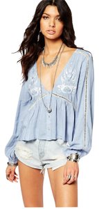 Somedays Lovin Festival Bohemian Summer Feminine Top blue and white