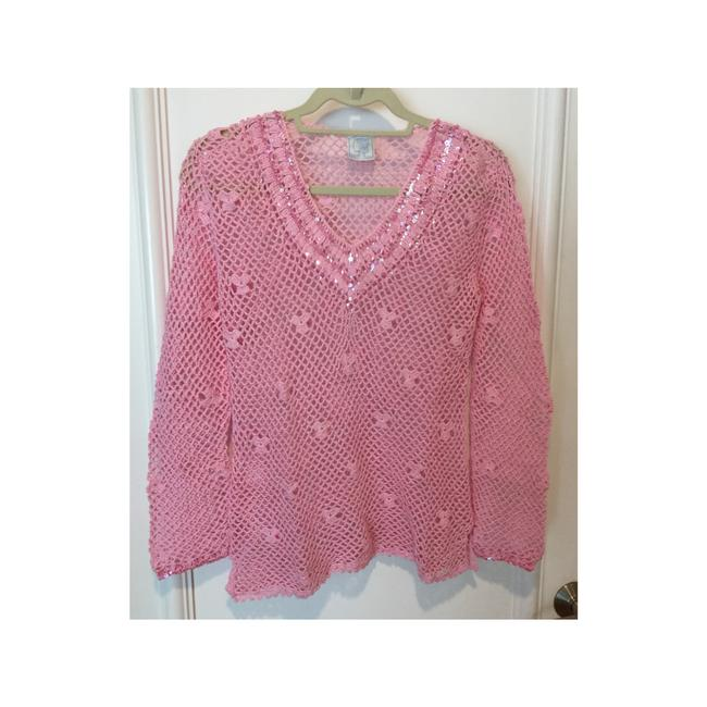 Item - Pink Embellished Crochet Knit Top Cover-up/Sarong Size 4 (S)