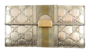 Gucci Guccissima Canvas Metallic Leather Clutch Long Wallet Italy