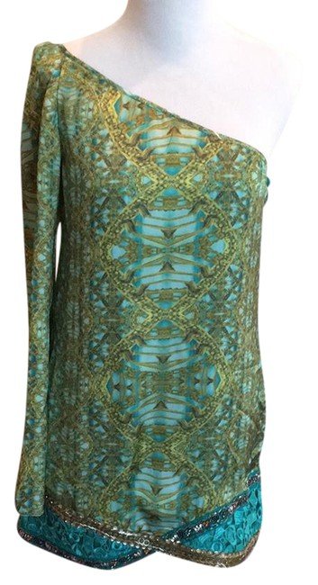 Preload https://img-static.tradesy.com/item/21338413/custo-barcelona-aqua-blue-green-yellow-print-one-shoulder-lowxury-beaded-tunic-short-night-out-dress-0-1-650-650.jpg