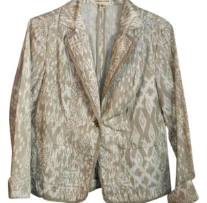 Coldwater Creek Casual Print Spring Khaki/White Jacket