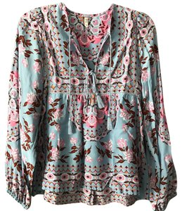 Anthropologie Bell Sleeve Floral Tunic Long Sleeve Top pink and blue