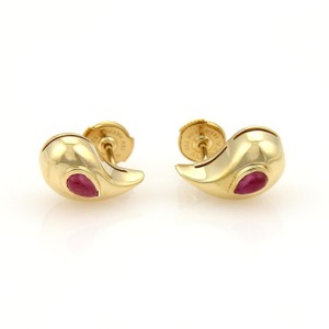 Chopard Cabochon Rubies & 18k Yellow Gold Curved Pear Shape Stud Earrings