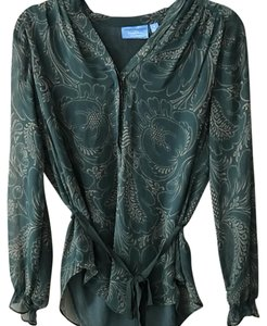 Simply Vera Vera Wang Chiffon Waist Tie Long Sleeve Floral Top green