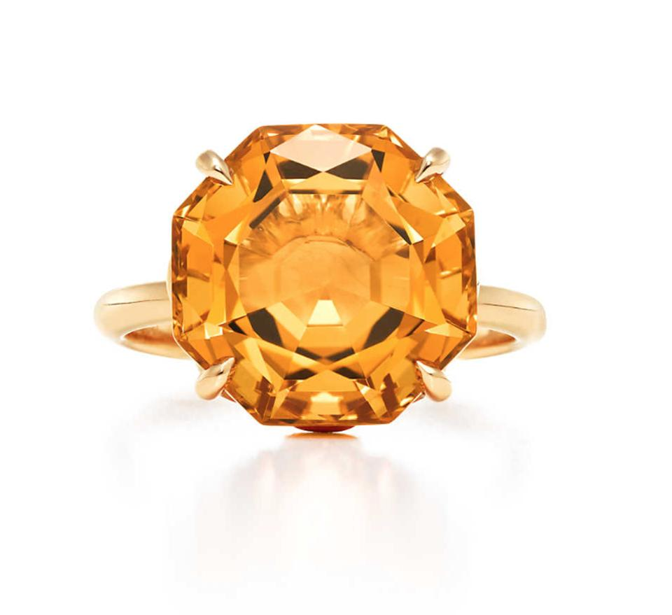 Tiffany Amp Co Gold Sparklers Octagonal Citrine Ring Tradesy