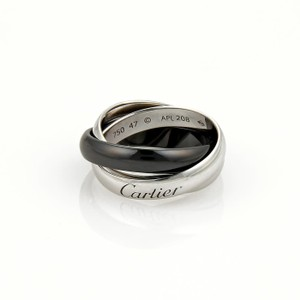 Cartier Trinity 18k White Gold Ceramic 3.5mm Rolling Band Ring Size EU 47-US 4