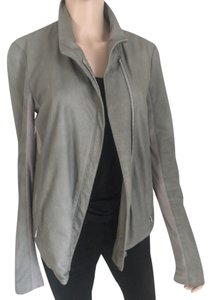 Helmut Lang Leather Moto Gray-Green Jacket