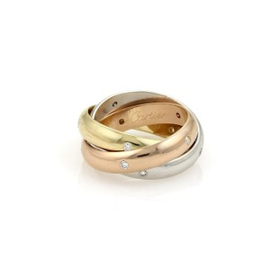 Cartier Trinity Diamonds 18k Tri-Color Gold 4mm Rolling Band Ring Size 46-US 4