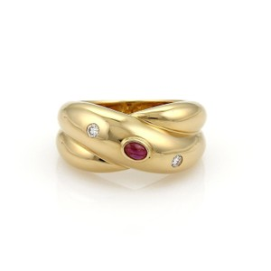 Cartier Cartier Diamond Ruby Crossover 18k Gold Dome Band Ring Size EU 54-US 7