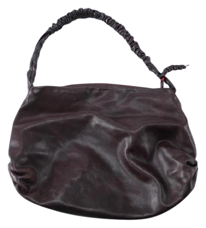 9665029f2a11 NICOLI Scrunched Handle Hobo Brown Leather Shoulder Bag - Tradesy