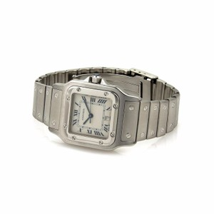 Cartier Santos Stainless Steel Sapphire Crystal Date Men's Wrist Watch Quartz