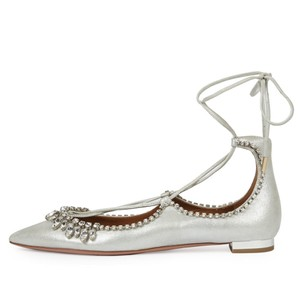 Aquazzura Christy Crystal Fringe Metallic Silver Flats