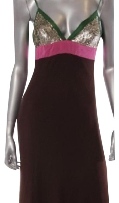 Item - Brown Green Pink Silver Mid-length Night Out Dress Size 6 (S)
