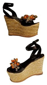 Prada BLACK WITH ORANGE CRYSTAL Wedges