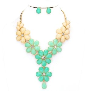 Other Crystal Accent Mint Green Floral Statement Necklace and Earring