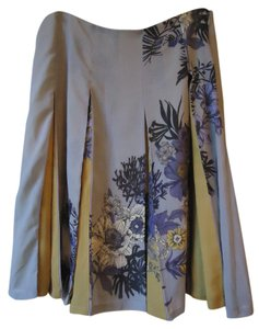 Anthropologie Floral Gray Gold Pleated Skirt