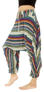 Buddha Pants Striped Bold Stripe Yoga Resort Baggy Pants Teal Striped