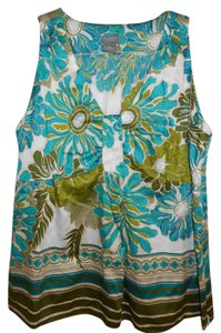 Ann Taylor Bright Colors Top Blue and Green Flowers