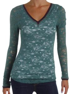 Free People Allover Lace V Neck Front + Back Contrast Trim Fun To Layer Long Sleeves Top Green