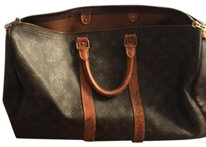 Louis Vuitton dark brown with brown/gold LV, light brown leather Travel Bag