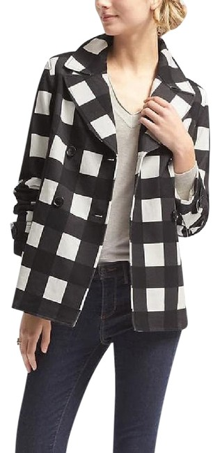 Item - Black/White L Gingham Double-breasted Jacket Size 14 (L)