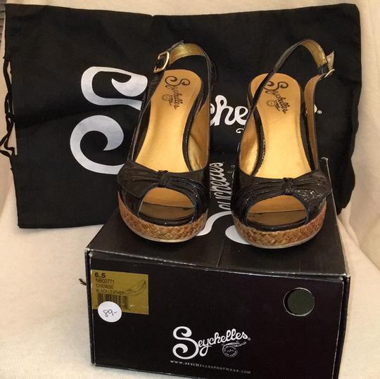 Seychelles Patent Leather Espadrille Patent Leather Heel black Wedges