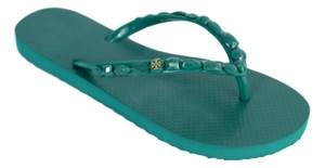 Tory Burch Summer Flip Flops Jewel Emerald Sandals