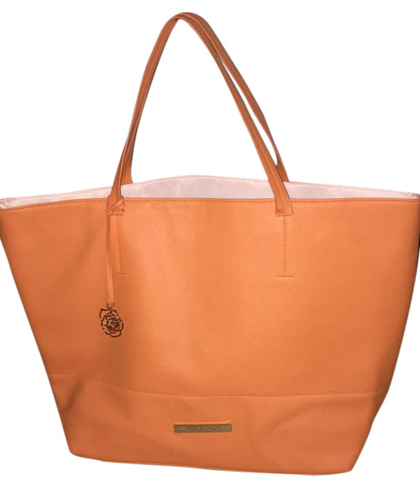 Vince Camuto Tote Secure Straps Orange With White Satin Lining Travel Bag