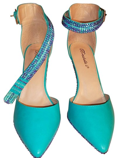 Preload https://img-static.tradesy.com/item/21339848/turquoise-green-with-blue-and-gold-crystals-swarovski-formal-shoes-size-us-9-narrow-aa-n-0-2-540-540.jpg