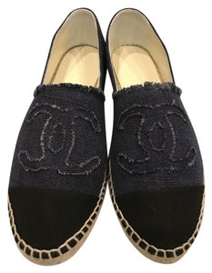 Chanel Espadrille Linen Denim Blue/Black Flats