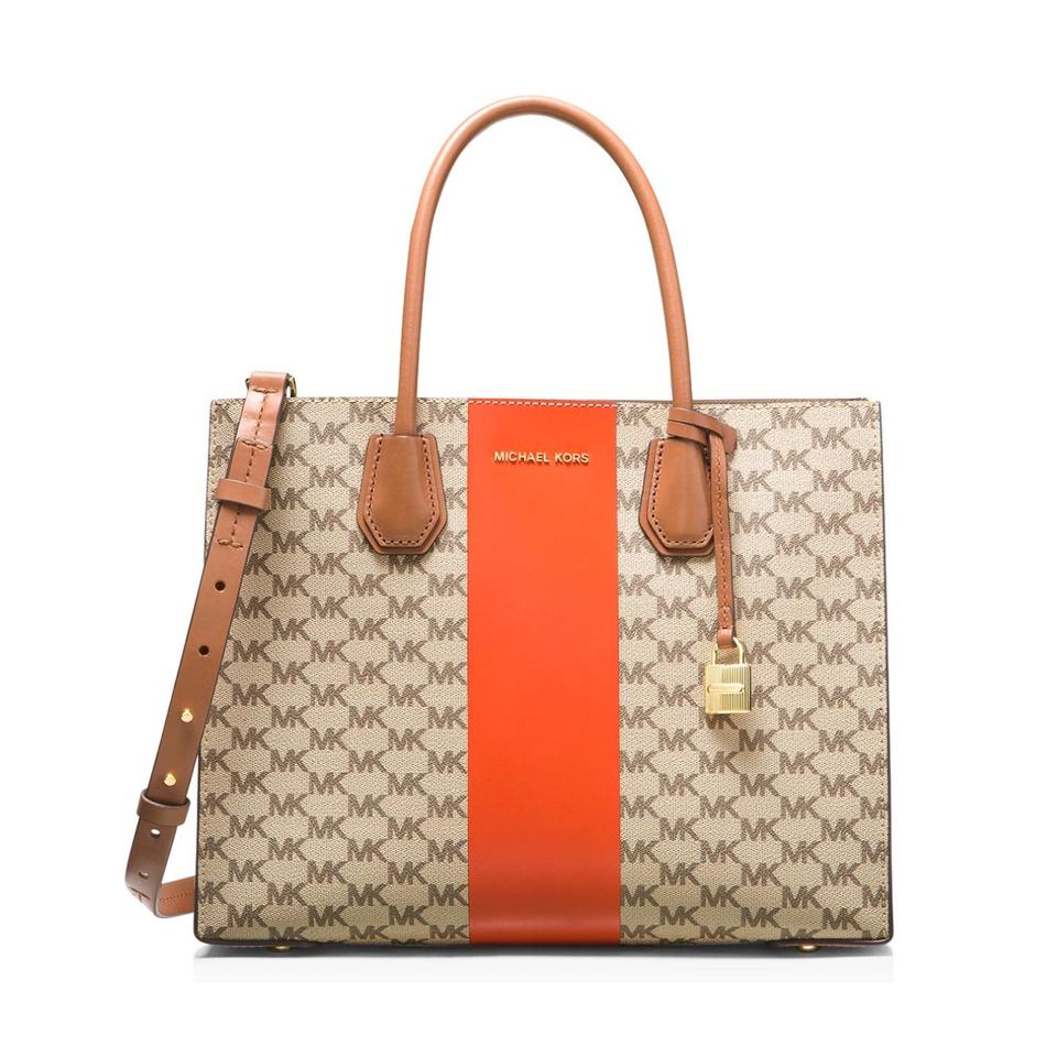 2e6c33a94 MICHAEL Michael Kors Mercer Center Stripe Natural/Orange Coated ...