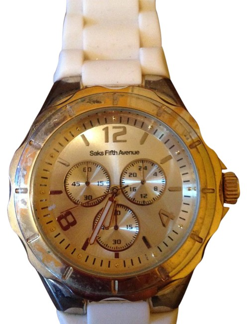 Item - Gold Face with White Band Sporty Watch