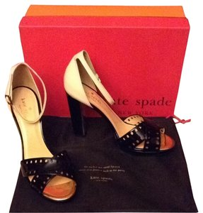 Kate Spade Patent Leather Gold Accent On Heel Dust Bag Porcelain and Black Sandals