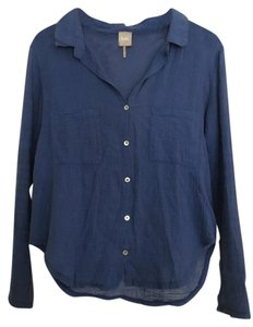 bobi Linen Summer Spring Casual Cotton Button Down Shirt Blue