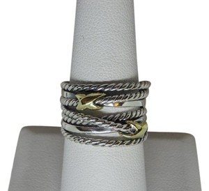 David Yurman sterling silver with Double gold X Ring size 8