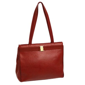 Salvatore Ferragamo Xl Lizard Embossed Perfect For Everyday Excellent Vintage Satchel in true red with gold Vara accent