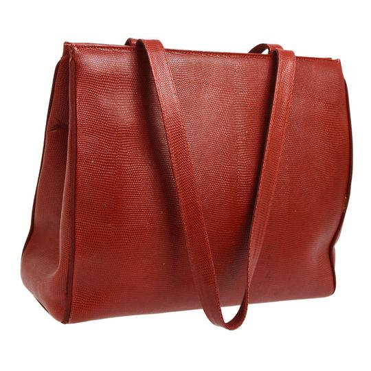 Salvatore Ferragamo Xl Satchel/Tote Lizard Embossed Perfect For Everyday Excellent Vintage Satchel in true red with gold Vara accent