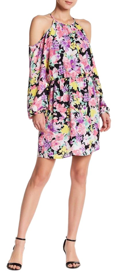 eb5c4aa6a07 Charles Henry Pink Floral Cold Shoulder Long Sleeve Short Casual ...