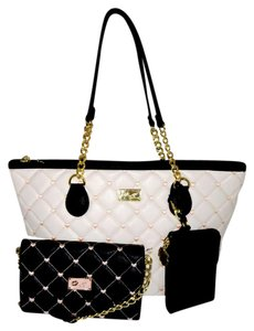 Betsey Johnson Quilted Diamond Pouch Wallet Tote in WHITE/PINK