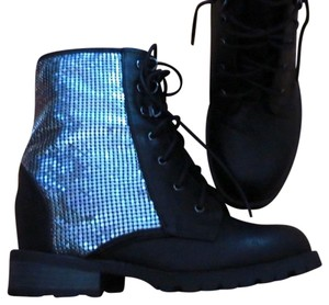 Other Hidden Platform Wedge Combat Edgy Cool black Boots - item med img