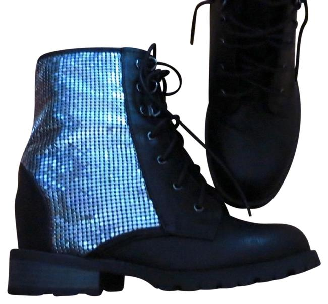 Black Hidden Wedge Combat Lace Up Boots/Booties Size US 8 Regular (M, B) Black Hidden Wedge Combat Lace Up Boots/Booties Size US 8 Regular (M, B) Image 1