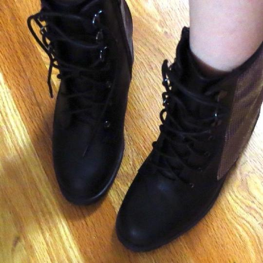 Other Hidden Platform Wedge Combat Edgy Cool black Boots