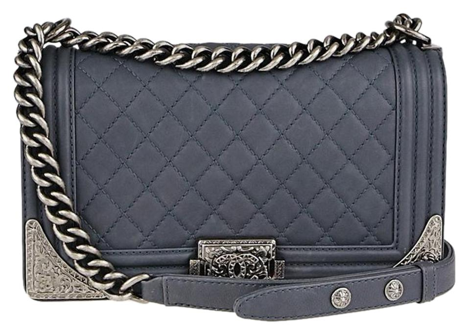 4225f7b107 Chanel Boy (Excellent Condition) Quilted Paris-dallas Medium Blue Grey  Lambskin Leather Cross Body Bag